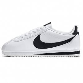 Nike Cortez bianco / nero di cuoio di base