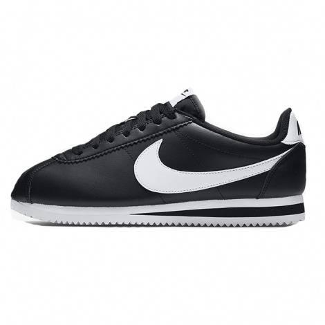 Nike Cortez Cuir de base noir / blanc