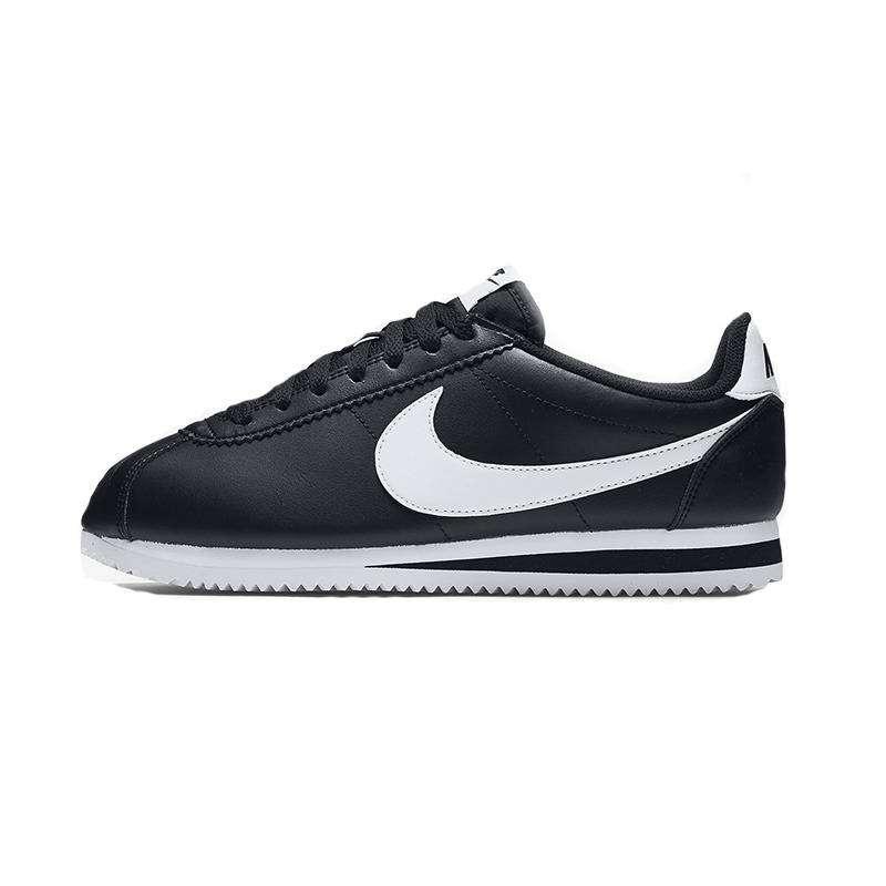 Femmes Nike Cortez Cuir de base noir / blanc