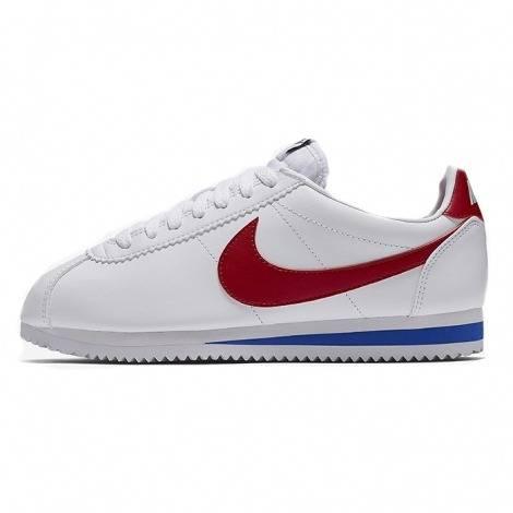 Nike Cortez bianco / blu / rosso di cuoio di base